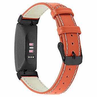For Fitbit Inspire / Inspire HR Genuine Leather Band Replacement Wristband Strap[Red]