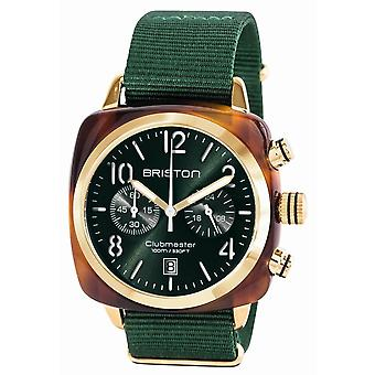 Briston Clubmaster Klassisk Acetate Kronograf klocka - Grön/ Gult Guld