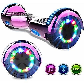 Right Choice Hoverboard Self Balanced Electric Scooter - eingebaute Bluetooth Lautsprecher - LED Wheel-Chrome rose