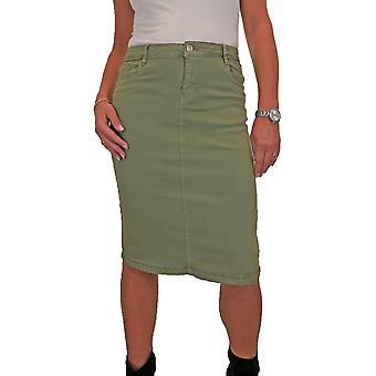 Femmes's Stretch Jeans Jupe Dames Confortables Décontracté Ci-dessous Genou Couleur Crayon Jupe 10-20