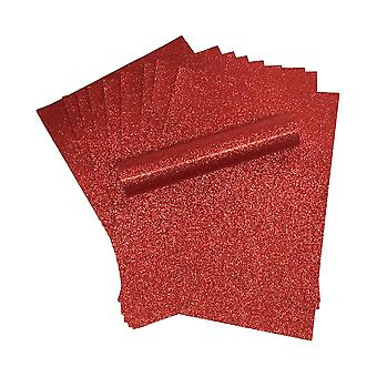 A4 Red Glitter Card Soft Touch Non Shed 250gsm Pack of 10 Sheets