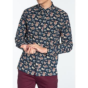 Chemise à motifs Keane Navy Paisley
