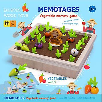 Children's Wooden Toys Early Education Educational Toys Fun Vegetables Memory Chess Game Farm