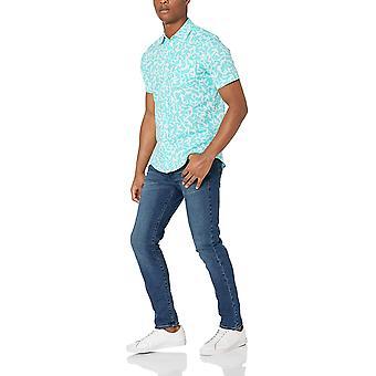 أساسيات الرجال & apos;ق سليم صالح قصيرة الأكمام الكتان قميص القطن