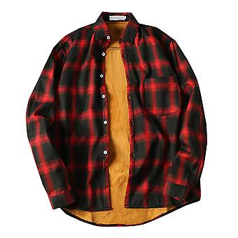 Yunyun Men's Plus Fleece Plaid Long Sleeve Button Slim Fit Quilted Lined Casual Shirt