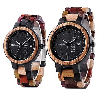 Lover, Couple Quartz Week, Date, Timepiece Colorful Wooden Watch Women