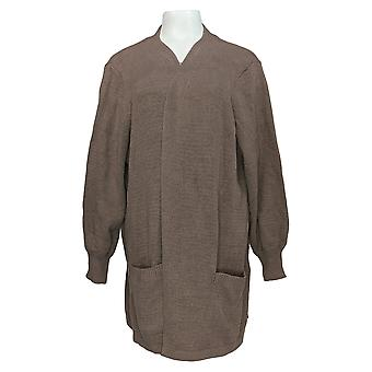 Anybody Women's Plus Sweater Open-Front Cardigan Beige A373430