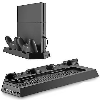 4-in-1 Ps4-latausasema, pystysuora jalusta, jossa on kaksoisjäähdytystuuletin ja USB-keskitin