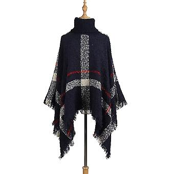 Poncho stil frakk, høst vinter strikking Turtleneck, Kvinner Lange Kapper Genser,