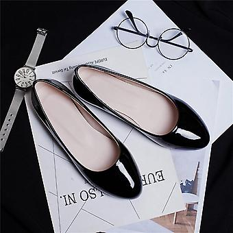 Round Toe Women Flat Shoes, Patent Leather Slip-0n Large Size 30-49, Spring&