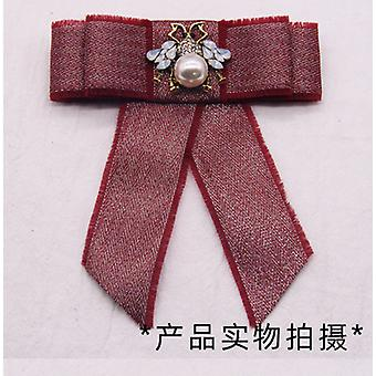 1 Pc Bow Brooch Pin with Diamond for Women Graduation ceremony wedding (Red)