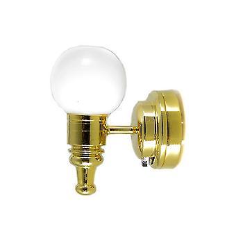 Poppen Huis Messing Muur Licht met Witte Globe Shade Led Batterij Verlichting 1:12