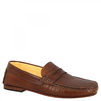 Leonardo Shoes Men's handmade round toe slip-on loafers moccasins shoes in brown calf leather