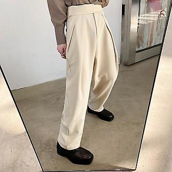 Letné kórejský štýl divoký vysoký pás široké nohavice nohavice muži príležitostné voľné nohavice