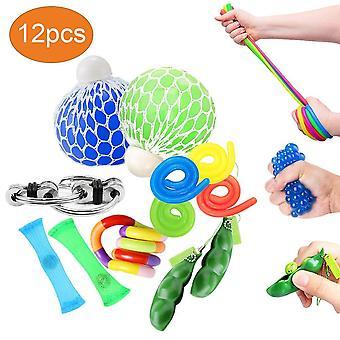 Oksano smyslové hračky sady 12ks, vrtět hračky pro děti i dospělé autismus housle hračky pro ADHD, zmáčknout