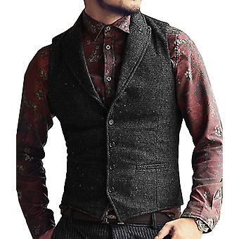 Mens Suit Vest V Neck, Wool Herringbone, Casual Formal Business Waistcoat