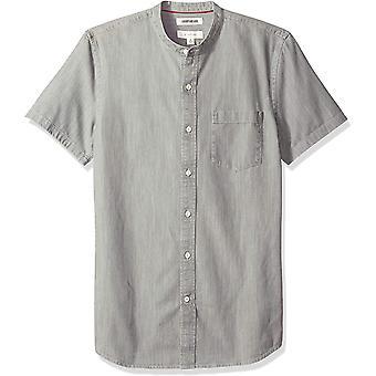Goodthreads الرجال & apos;ق سليم صالح قصيرة الأكمام باند-طوق قميص الدنيم, غسلها blac ...