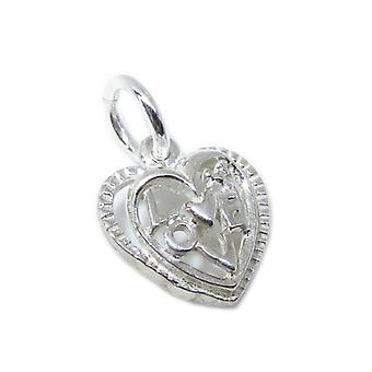 Tiny Love Heart Charm Sterling Silber Charm .925 X 1 Liebevolle Charms - 8622