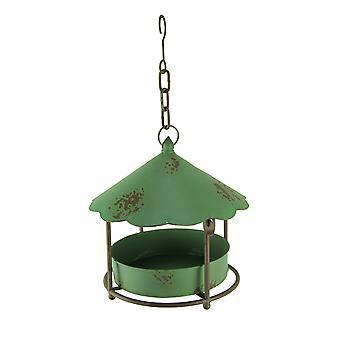 Vintage Green Round Metal Hanging Covered Tray Bird Feeder
