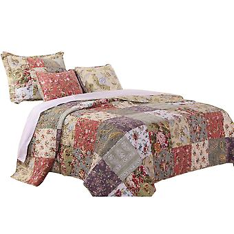 Chicago 4 Piece Fabric Twin Size Quilt Set With Jacobean Prints, Multicolore