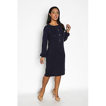 Long sleeve button down sweater dress - navy