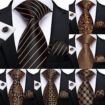 Lüks Çizgili Paisley İpek Düğün Kravat Dibangu Tasarımcı Hanky Kol Düğmeleri Kravat