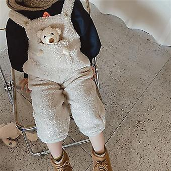 Winter Baby Plus Fleece Lämmin Haalarit, Taapero Lapset Söpö Taskukarhu Housut