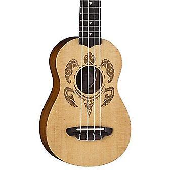 Luna honu turtle spruce soprano ukulele with gig bag, satin natural