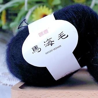 Hilo de lana Mohair de seda, suéter tejido de punto, gancho de cableado de línea, chal de tejido,