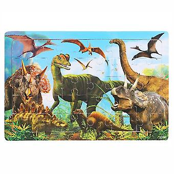 30pieces Animals Dinosaur Wooden Preschool Puzzle