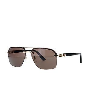 Cartier CT0276S 001 Goud-Zwart/Grijs Zonnebril