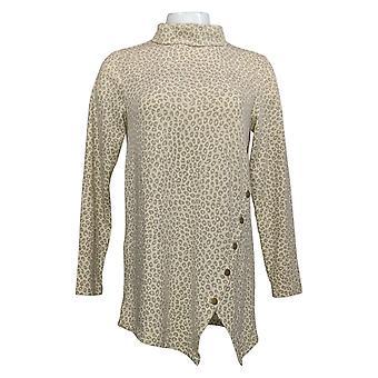 Denim & Co. Women's Top Printed Jersey Tunic c/ Assimétrica Hem A388217