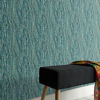 Elle Decoration Marble Wallpaper Teal Gold 1014936