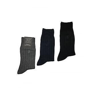 Pringle Of Scotland Pringle Mens Natural Bamboo Ribbed Socks 3 Pack Black/navy/grey
