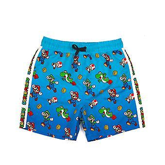 Super Mario Badeshorts für Jungen | Kinder Mario Luigi Schwimmhosen Hose | Drawstring Bund Blau Gamer Merchandise Geschenke