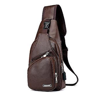 Vintage Pu Zipper Open Crossbody Bag With Earphone Holes Zj55