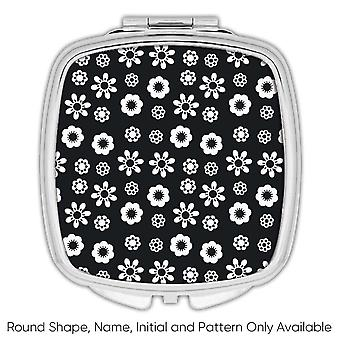 Gift Compact Mirror: Daisy Flower Black