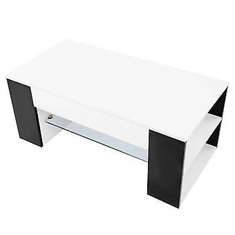 Modernin tyylin olohuoneen sohvapöytä sivuvarastotelineellä
