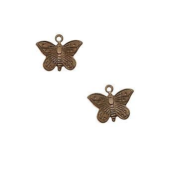 Vintaj Natural Brass Cute Teensie Butterfly Charms 11mm (2)