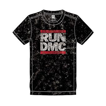 RUN DMC T Shirt Band Logo new Official Mens Black Snow Wash