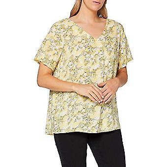 ONLY Carmakoma CARBLOOM Life SS V-Neck Top T-Shirt, AOP: Bloom Pineapple Slice, 44 Women