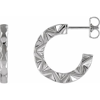 925 Sterling Silver Polished Geometric Hoop Earrings With Back Jewelry Gifts for Women - 4.2 Grams