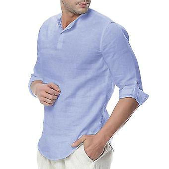 Cotton Solid Basic Men Tops Leisure Casual Shirt