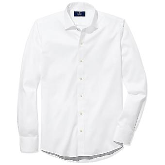 """BUTTONED DOWN Men's Slim Fit Spread-Collar Non-Iron Dress Shirt (No Pocket), White, 17"""" Neck 37"""" Sleeve"""