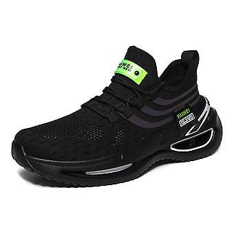 Platform low-top luminous flying knit trendy shoes 1EA15 Black
