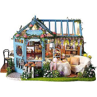 Wokex DIY Mini Puppenhaus Holzmöbel Kit, Rosengarten Teehaus - Handgemachte Cottage Hütte Klein