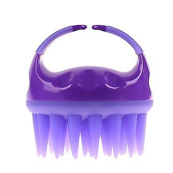 Βούρτσα σαμπουάν σιλικόνης, βούρτσα καθαρισμού μασάζ τριχωτού της κεφαλής, χτένα σιλικόνης μασάζ για μακρύτερα μαλλιά (μωβ)