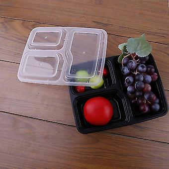 5/10 Pcs 3 Compartment Food Storage Containers With Lids Bento Lunchbox
