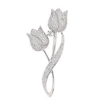 Elegant Ladies Brooch Tulip Corsage Bronze Micro-nlaid Scarf Clip Jewelry Brooch Pin