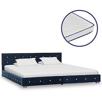 vidaXL sänky muistivaahto patja sininen sametti 180x200cm